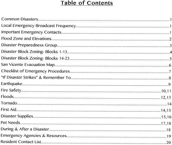 SV Evacuation Plan Contents