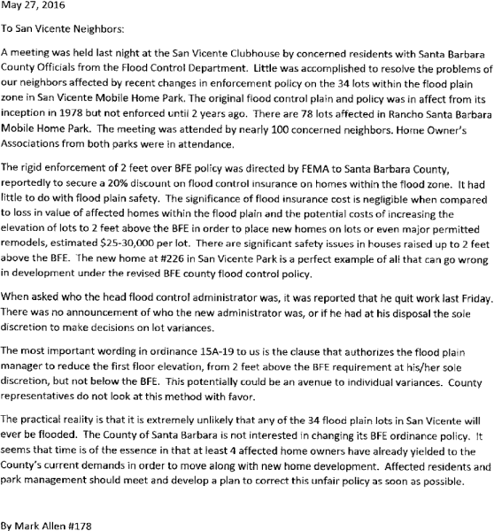 Flood Control Letter - Mark Allen